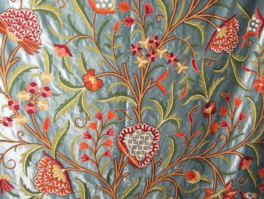 Velvet Crewel Embroidered Fabric Teal Multicolor Cv201