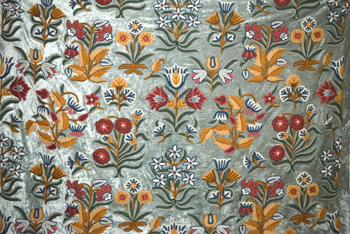 Velvet Crewel Embroidered Fabric Teal Multicolor Cv602