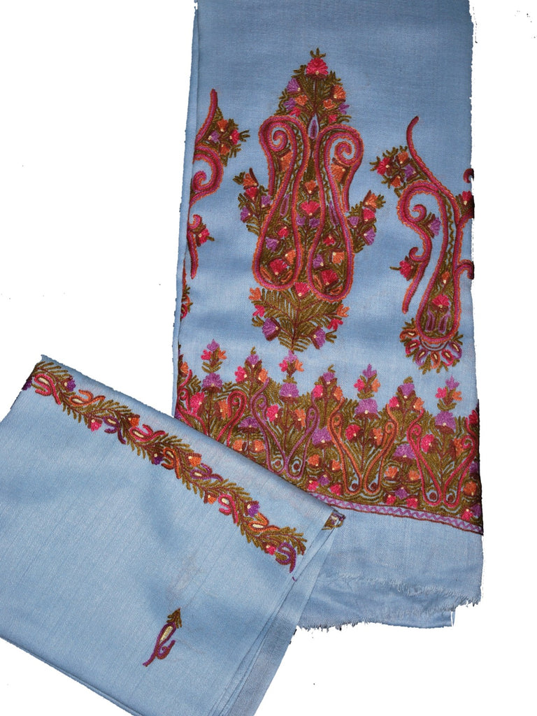 Woolen Salwar Kameez + Scarf Light Blue, Multicolor Embroidery #FS-411