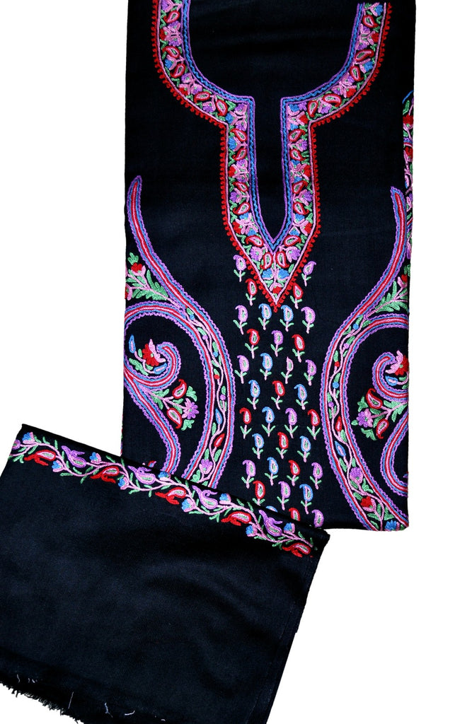 Woolen Salwar Kameez Black with Stole, Multicolor Embroidery #FS-428