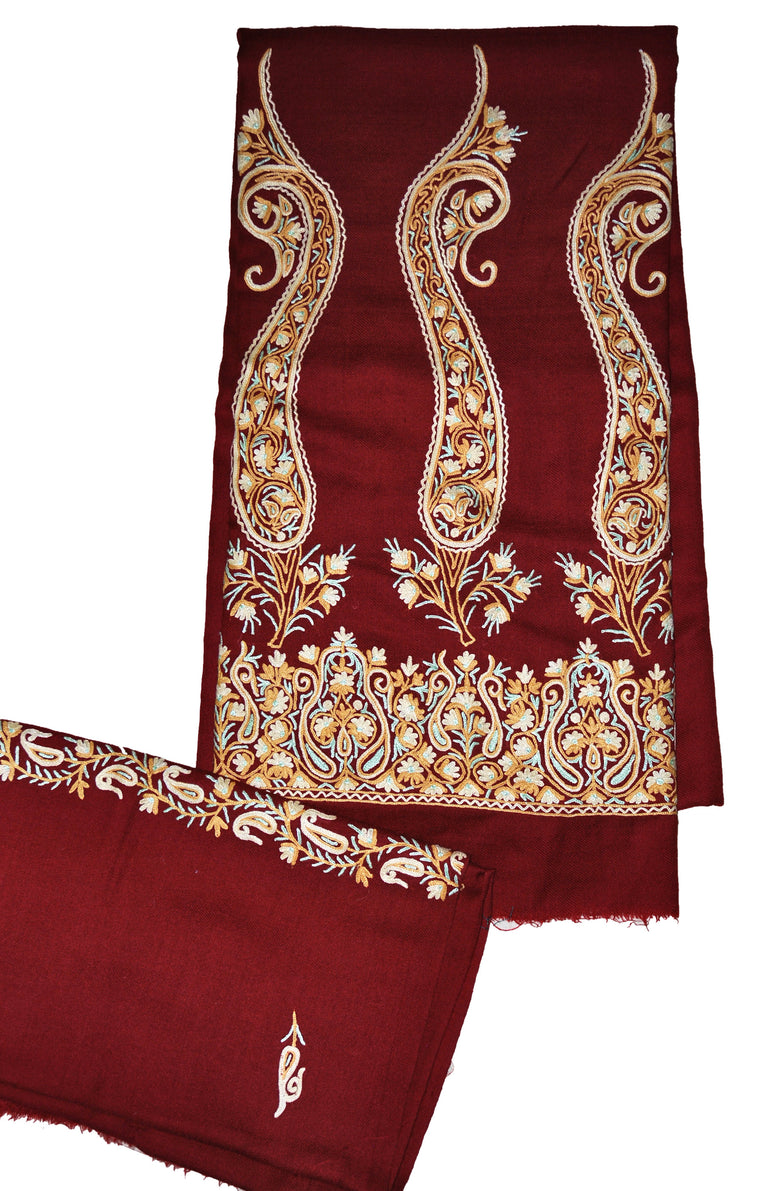 Woolen Salwar Kameez Maroon with Stole, Multicolor Embroidery #FS-433
