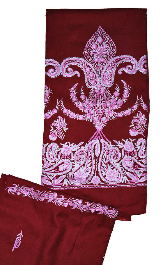 Woolen Salwar Kameez + Scarf Maroon, Pink and White Embroidery #FS-435