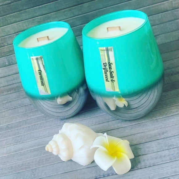 """Karlee"" Stemless Soy Candle- Teal Ombré"
