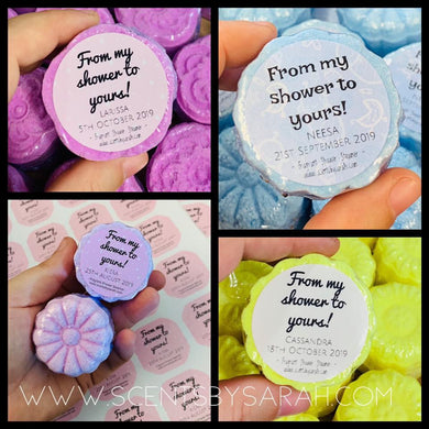 """From my shower to yours"" Baby Shower Shower ~  Steamers- 10pk"