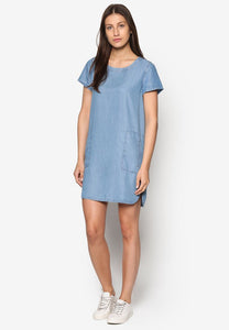 Blue Mesh Mix Dress