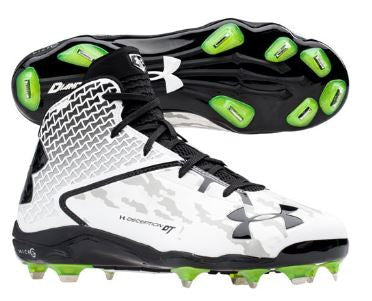 Under Armour Deception Mid Metal Cleats: White/Black