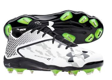 Under Armour Deception Low Metal Cleats: White/Black