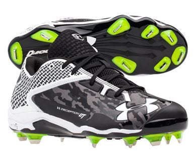 Under Armour Deception Low Metal Cleats: Black/White