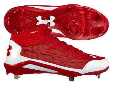 433355aaab64 Under Armour Mens Heater Mid ST Metal Cleats Red/White ...