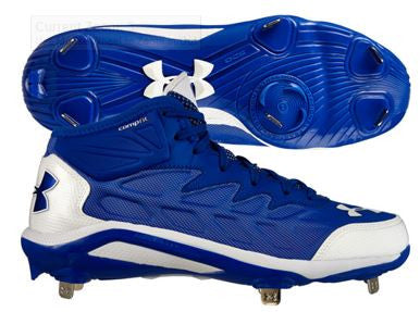 Under Armour Mens Heater Mid ST Metal Cleats Royal/White