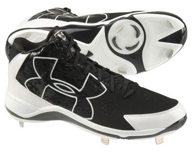 Under Armour Mens Ignite Mid ST CC Metal Cleats Black/White