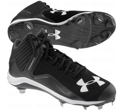Under Armour Mens Yard Mid ST Metal Cleat Black/Charcoal