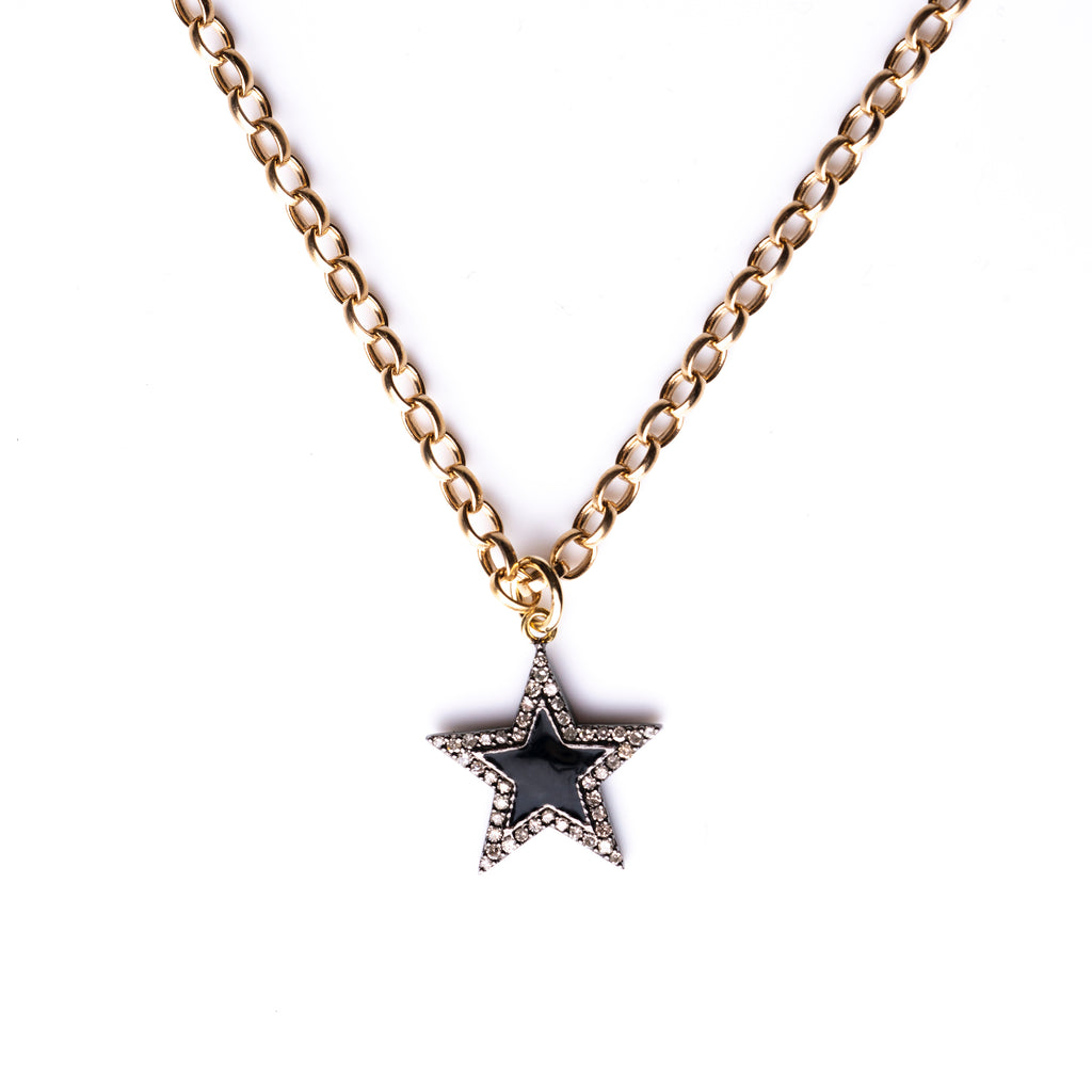 Diamond & Black Enamel Chunky Star Necklace