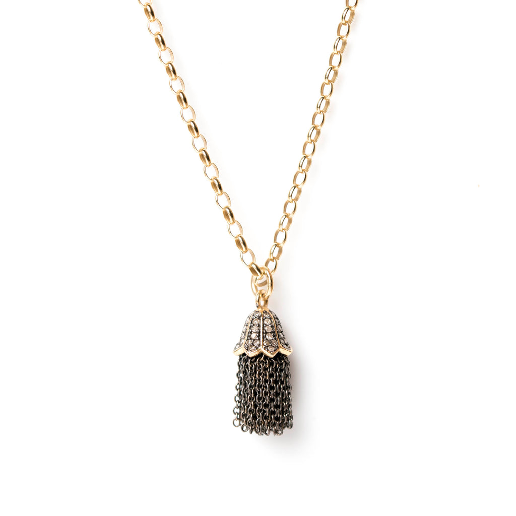 Diamond Tassel on Medium Gold Chain
