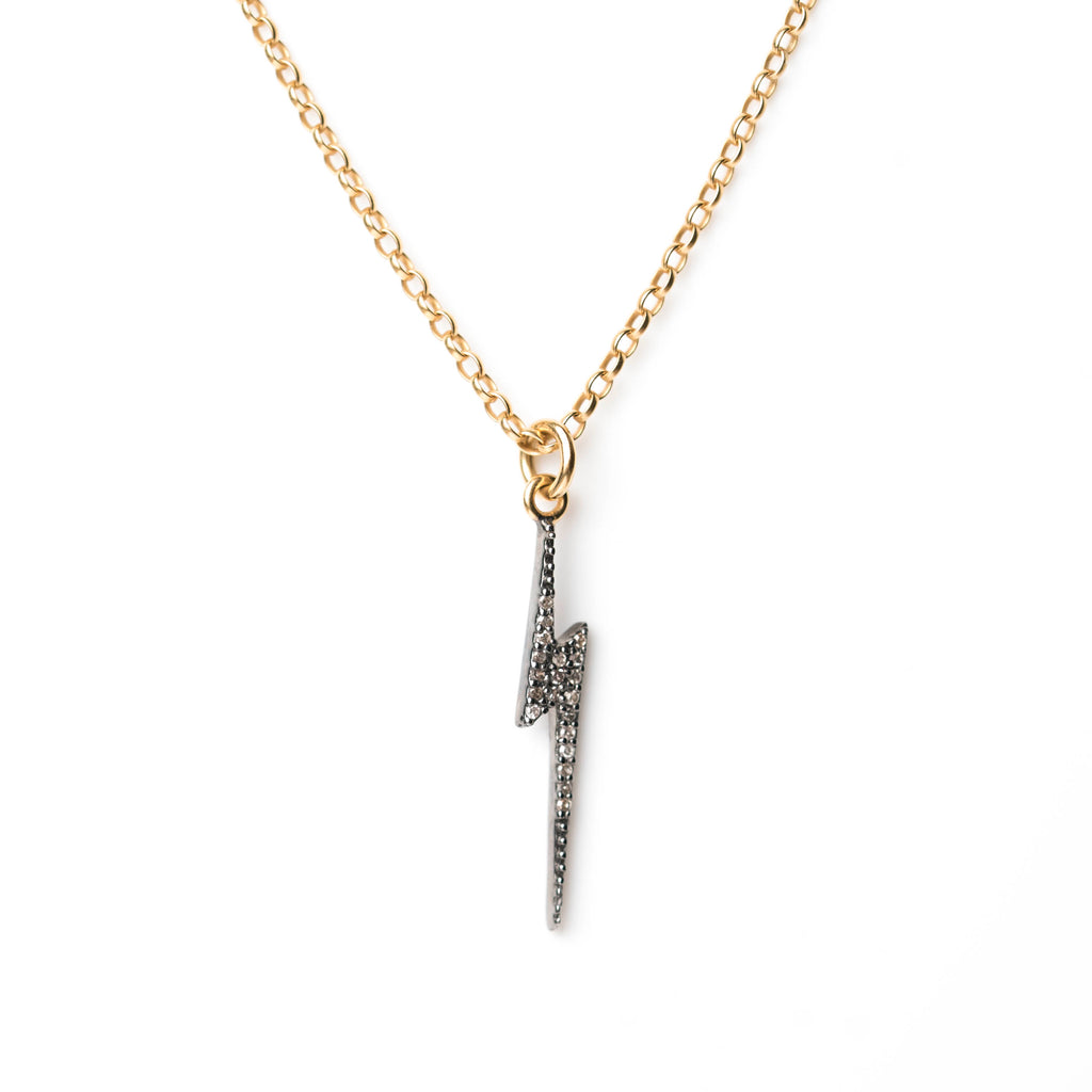 Diamond lightning bolt pendant on gold chain kirstie le marque diamond lightning bolt pendant on gold chain mozeypictures Image collections