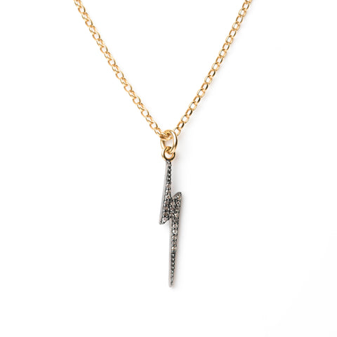 Diamond Lightning Bolt Pendant on Gold Chain