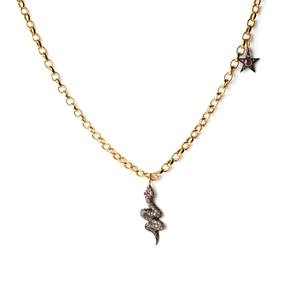 Diamond Snake and Star on Gold Chain