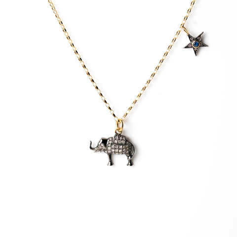 Diamond Elephant and Tiny Sapphire Star on Gold Chain
