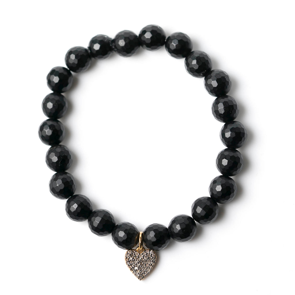 Black Agate & Double-Sided Diamond Heart Bracelet