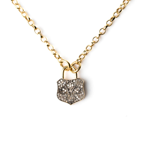 Diamond Chunky Lock Necklace