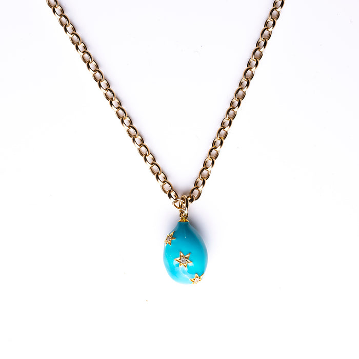 Turquoise Enamel Egg Necklace