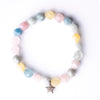 Pastel Quartz Beaded Bracelet with Double-sided Diamond Star
