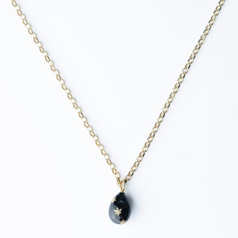 Black Enamel Egg Necklace