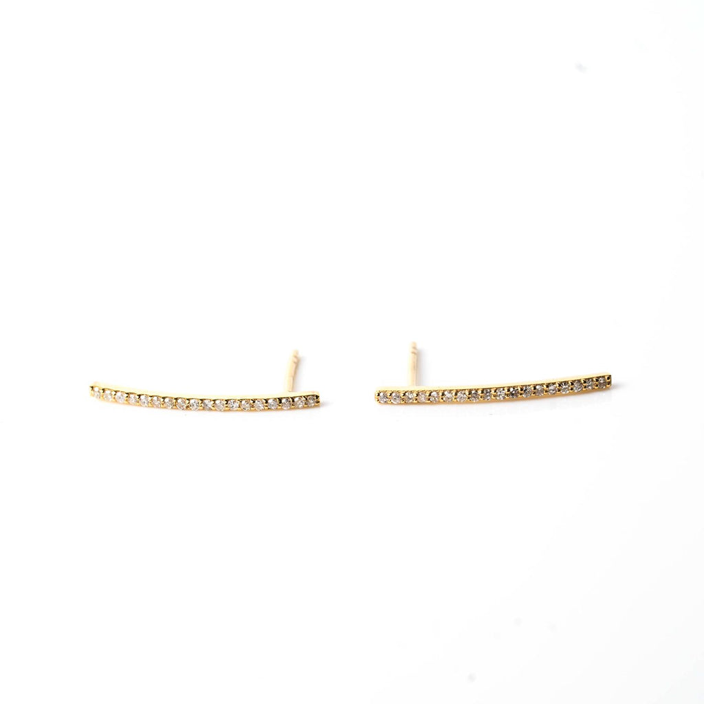 9k Gold Bar Stud Earrings