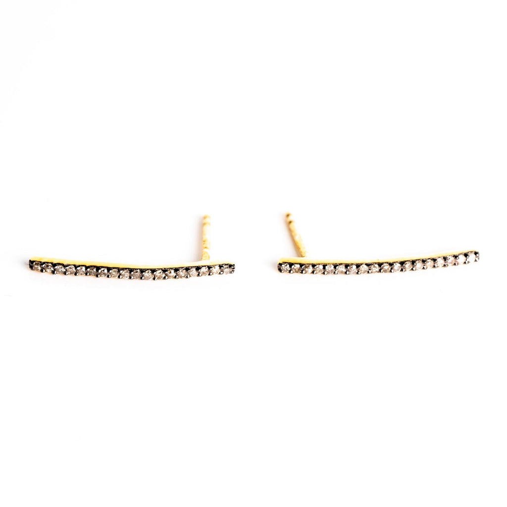 Gold Plated & Oxidised Silver Bar Stud Earrings