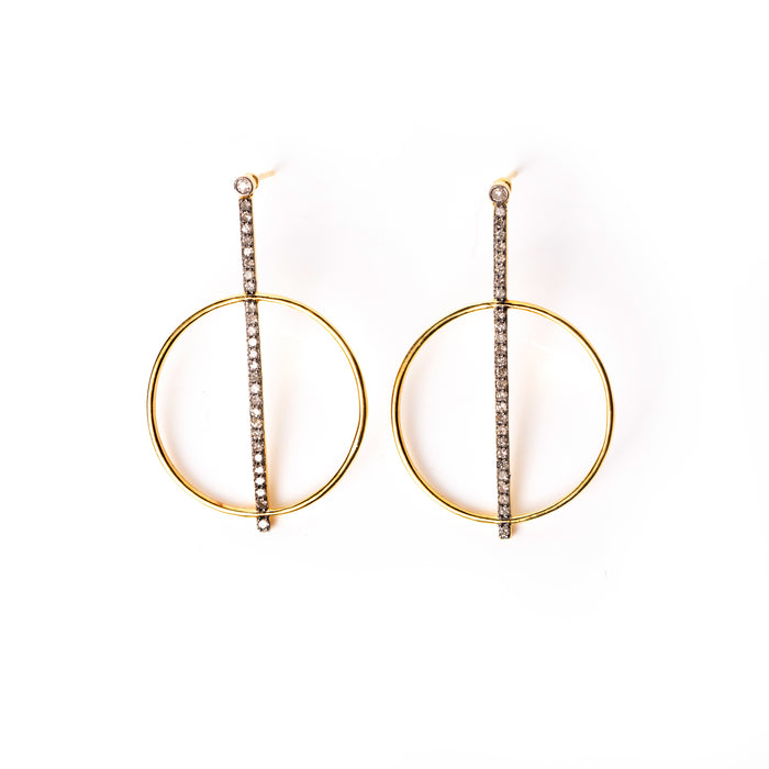 Pavé Diamond Bar and Hoop Earrings