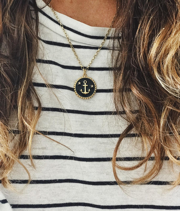 Black Enamel Anchor Coin Necklace