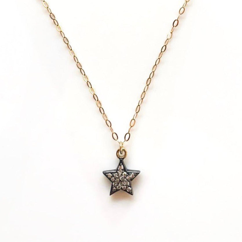 Double-Sided Diamond Star on Fine Gold Chain