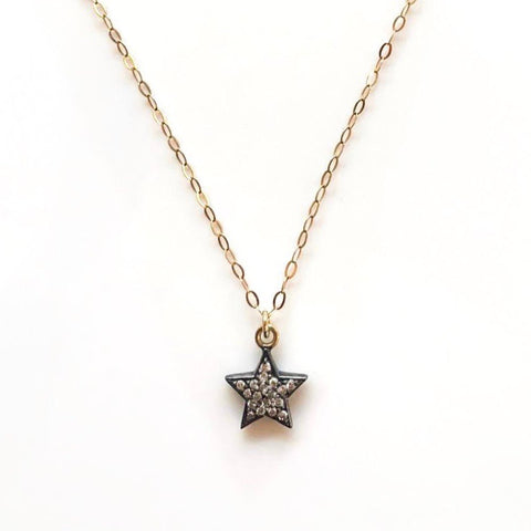Double-Sided Pavé Diamond Star on Fine Gold Chain