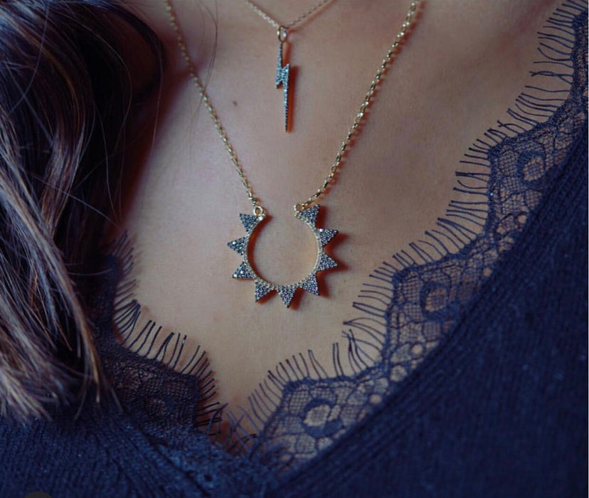 Diamond Horseshoe Spike Necklace*