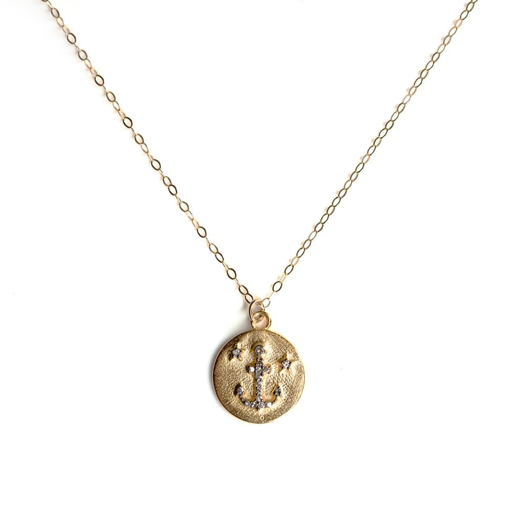 Small Anchor Coin on Fine Gold Chain