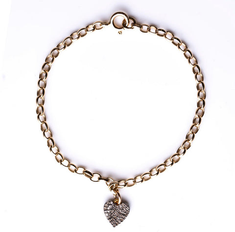 Double-Sided Pavé Diamond Heart Bracelet
