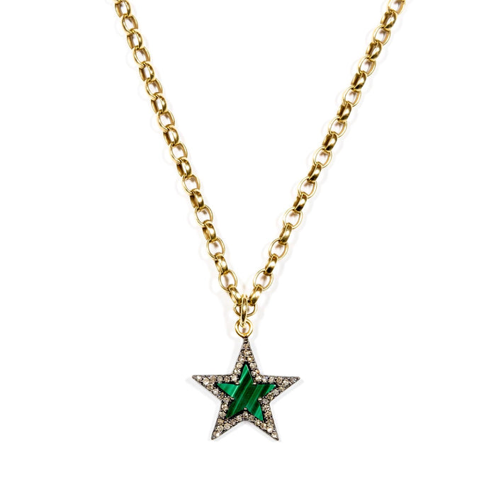 Diamond & Malachite Chunky Star Necklace