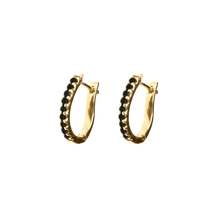 Black Pavé Diamond Huggie Hoops