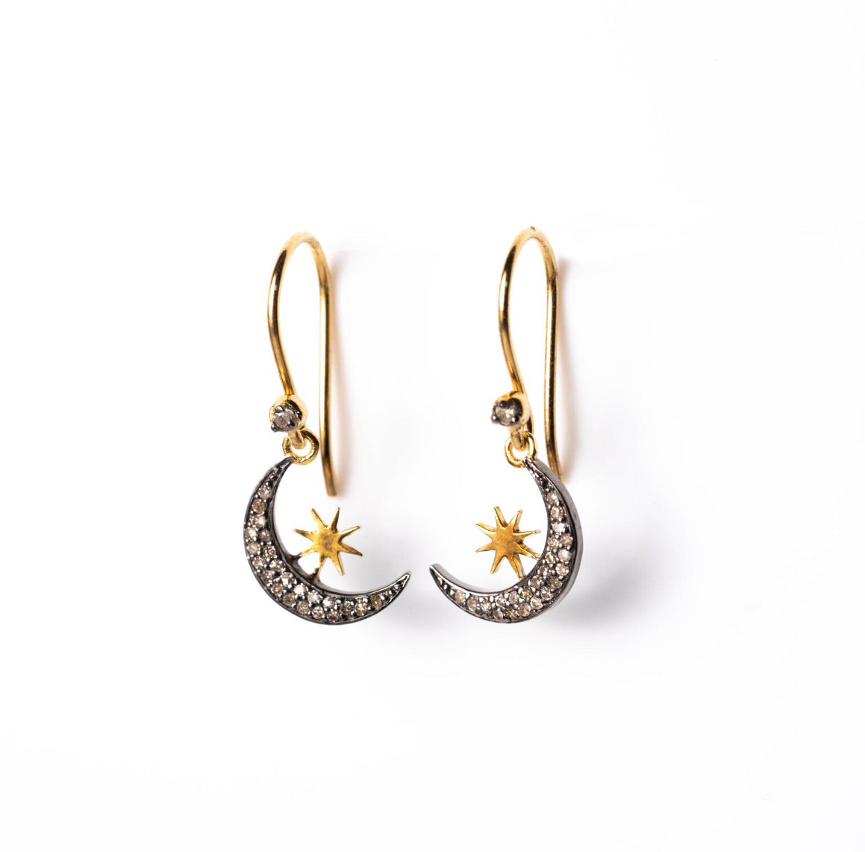 Dangle Moon Crescent and Star Earrings