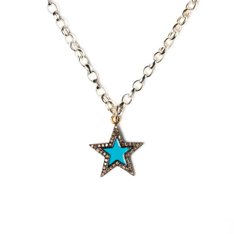 Diamond & Turquoise Enamel Chunky Star Necklace