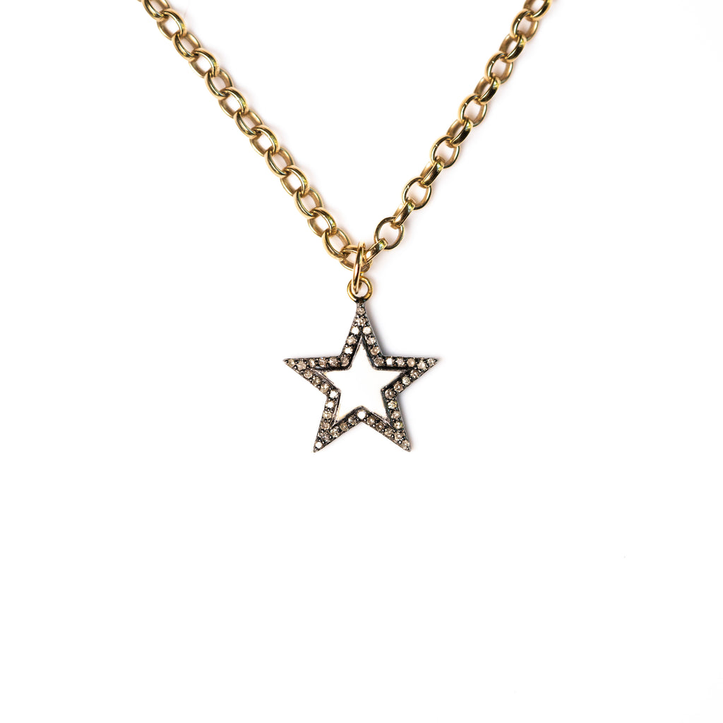 Diamond & White Enamel Chunky Star Necklace