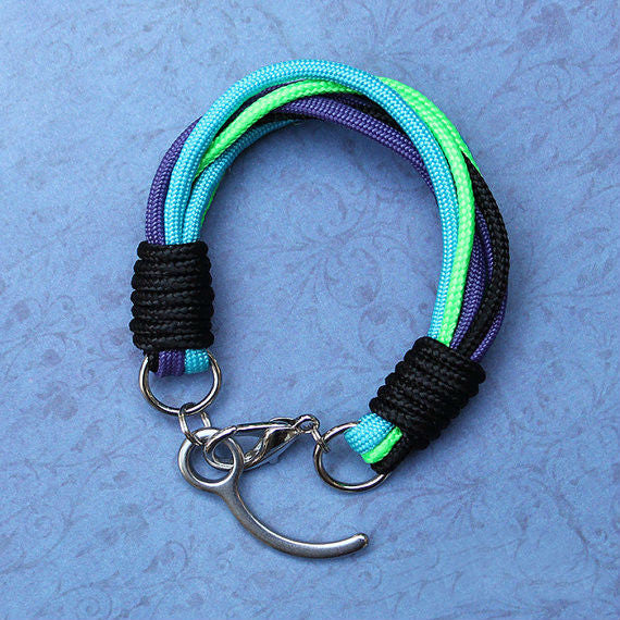 Paracord Bracelet (purple, green, blue and black)