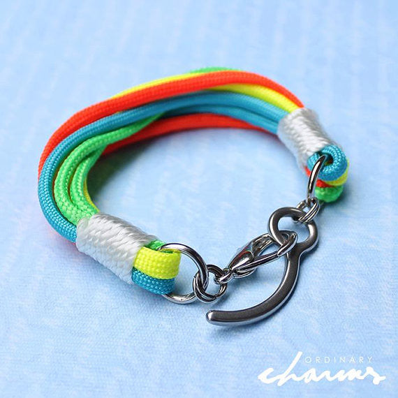 Paracord Bracelet (orange, green, blue and yellow)