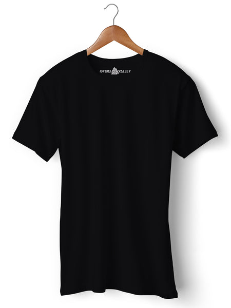 Black - Round Neck T-Shirt - Opium Valley