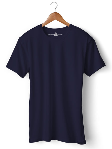 Navy Blue - Round Neck T-Shirt - Opium Valley