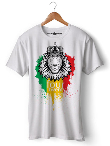 Rasta Lion - Round Neck T-Shirt