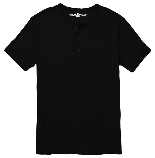 Black - Henley T-Shirt - Opium Valley