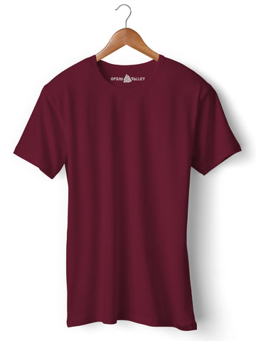Burgandy - Round Neck T-Shirt