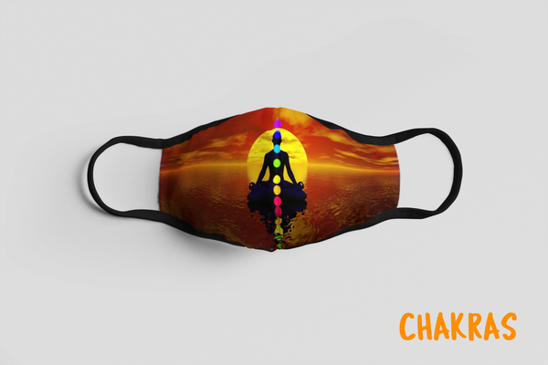 Designer Face Mask (3-layer with filter pocket): CHAKRAS