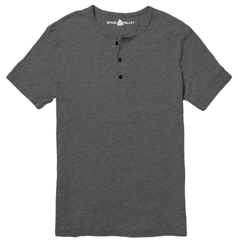 Charcoal Melange - Henley T-Shirt - Opium Valley